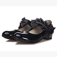 Girl's Heels Spring / Summer / Fall Heels / Comfort Synthetic Outdoor / Dress / Casual Chunky Heel Bowknot / Magic Tape Black / White