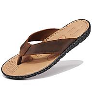 Unisex-Slippers & Flip-Flops-Outddor Kleid Lässig-Nappalederpaar Schuhe-Schwarz Hellbraun