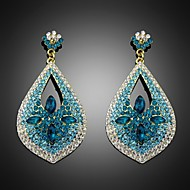 Lady's Multi-Stone Zircon Blue Natural Stone Chandelier Drop Earrings for Wedding Party Jewelry