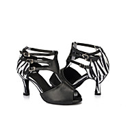 Sapatos de Dança ( Preto / Multicolorido / Leopardo ) - Feminino - Personalizável - Latina / Salsa / Samba