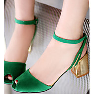 Women's Shoes Velvet Chunky Heel Heels / Peep Toe Sandals Office & Career / Dress / Casual Green / Orange