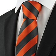 New Striped Orange Black Mens Tie Suit Necktie Wedding Party Holiday Gift KT1026