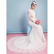lanting trompette / sirène robe de mariée - chapelle ivoire train de bijou en dentelle