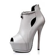 נשיםדמוי עור-פלטפורמה-שחור לבן אפור-שמלה-עקב סטילטו פלטפורמה