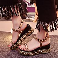 Zapatos de mujer-Tacón Cuña-Cuñas / Tacones / Punta Abierta / Plataforma-Sandalias / Tacones-Vestido / Casual / Fiesta y Noche-Cuero-Oro