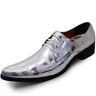 Men's Oxfords Spring Summer Fall Winter Formal Shoes Patent Leather Outdoor Office & Career Party & Evening Casual Silver Black