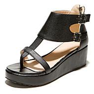 נעלי נשים-סנדלים-דמוי עור-רצועה אחורית / טבעת אצבע-שחור / לבן-שמלה / קז'ואל-פלטפורמה