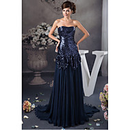 Formal Evening Dress-Dark Navy A-line Strapless Sweep/Brush Train Chiffon / Sequined