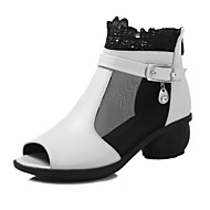 Modern Women's Dance Shoes Sandals Breathable Leather Cuban Heel Black/White/Red