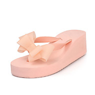 Women's Spring / Summer / Fall Slippers Leatherette Outdoor / Dress / Casual Flat Heel Bowknot Black / Pink / Red