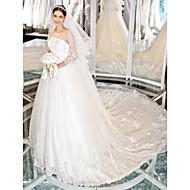웨딩 드레스-아이보리(색상은 모니터에 따라 다를 수 있음) A 라인 채플 트레인 스쿱 레이스 / 튤