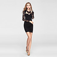 Cocktail Party Dress Sheath / Column V-neck Short / Mini Lace / Stretch Satin with Bow(s) / Lace