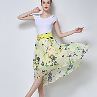 Women's Floral Beige / Yellow Skirts,Casual / Day Asymmetrical