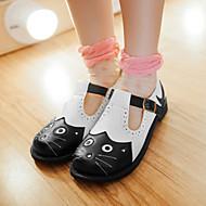 Черный-Женская обувь-Для прогулок / Для праздника / На каждый день-Дерматин-На плоской подошве-С круглым носком-Обувь на плоской подошве