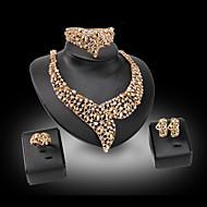 Imitasjon Diamant Perle Luksus Smykker Edelsten Perle Strass Gullbelagt 18K gull imitasjon Diamond Legering GullHalskjeder Øreringer