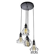 60W Pendant Light ,  Country Painting Feature for Mini Style Metal Bedroom / Dining Room / Study Room/Office / Hallway