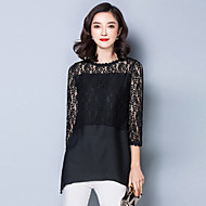 Women's Solid White / Black Chiffon Stitching Lace Blouse,Asymmetrical ¾ Sleeve
