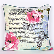Flower Printed and Butterfly Embroidered Cotton Cushion Cover