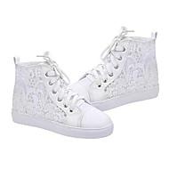 נעלי נשים-סניקרס אופנתיים-תחרה / דמוי עור-נוחות-לבן-שטח / קז'ואל / ספורט-עקב שטוח