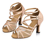 Customizable Women's Dance Shoes Latin / Jazz / Swing Shoes / Salsa / Samba Satin / Lace Customized Heel Yellow / Pink