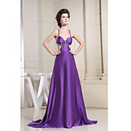 Formal Evening Dress-Regency A-line V-neck Chapel Train Charmeuse