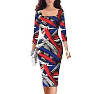 Damen A-Linie / Bodycon Kleid-Lässig/Alltäglich / Übergröße Retro / Einfach / Street Schick Geometrisch Quadratischer Ausschnitt Knielang