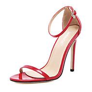 Sandály-PU-Podpatky / Otevřená špička-Dámská obuv-Černá / Červená / Bílá / Mandlová-Outdoor / Běžné-Vysoký