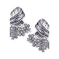 עגיל עגילים צמודים / עגילי טיפה תכשיטים 2pcs זירקוניה מעוקבת / מצופה פלטינום נשים לבן