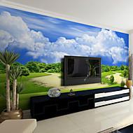 JAMMORY Art Deco Wallpaper Contemporary Wall Covering,Non-woven Paper Blue Sky Wallpaper Murals