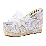 Women's Shoes Silicone Wedge Heel  Open Toe Sandals Dress / Casual Pink / White / Gray
