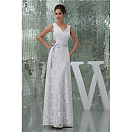 Formal Evening Dress-White A-line V-neck Floor-length Lace / Charmeuse