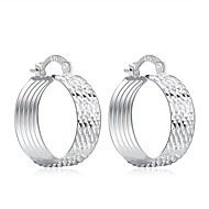 lureme®Fashion Style Silver Plated Stripe Round Shaped Hoop Earrings