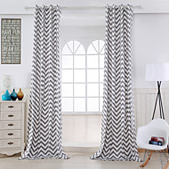 Two Panels Modern Stripe Grey Living Room Cotton Panel Curtains Drapes