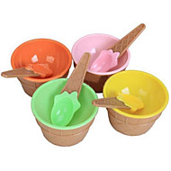 כפות קערות גלידת הפלסטיק לילדים להגדיר כוס גלידה עמידה (צבע אקראי)