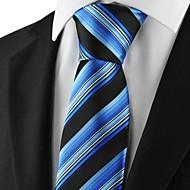 Krawat-Prążki(Czarny / Niebieski,Poliester)