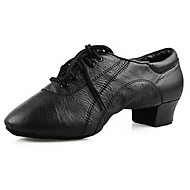 Customizable Men's Dance Shoes Latin / Dance Sneakers / Modern / Salsa Leather Chunky Heel Black((Fur bottom)