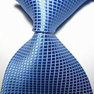 Gravata(Azul Claro,Poliéster)Quadriculado