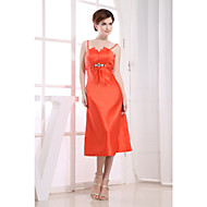 Cocktail Party Dress-Orange Sheath/Column Spaghetti Straps Tea-length Satin