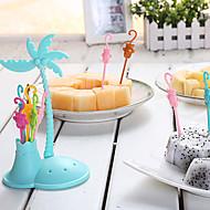 6stk kokospalmen frugt gaffel den lille abe tandstikker indehavere tilfældig farve