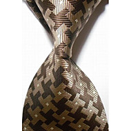 New Checked Brown Gray JACQUARD WOVEN Men's Tie Necktie #3009