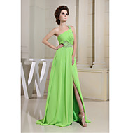 Formal Evening Dress Sheath / Column One Shoulder Floor-length Chiffon with Beading / Side Draping / Split Front