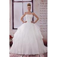 A-line Wedding Dress-Ivory Chapel Train Strapless Organza / Satin