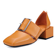 Women's Shoes Leather Chunky Heel D'Orsay & Two-Piece / Square Toe Sandals Office & Career / Dress / (Genuine leather)