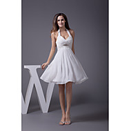 Cocktail Party Dress A-line Halter Knee-length Chiffon