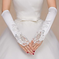 Elbow Length Fingerless Glove Satin Lace Bridal Gloves Party/ Evening Gloves Sequins Beading Appliques Embroidery