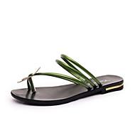 Sandály-Koženka-Otevřená špička-Dámská obuv-Černá / Zelená / Červená / Stříbrná-Šaty / Běžné-Plochá podrážka