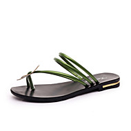Women's Shoes Flat Heel Open Toe Sandals Dress / Casual Black / Green / Red / Silver
