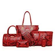 Feminino Couro Ecológico Casual Conjuntos de saco Bege / Azul / Vermelho