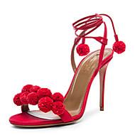Sandály-Kůže / Len-Gladiátorské / Bambule-Dámská obuv-Červená / Bílá / 1 #-Šaty / Běžné-Vysoký
