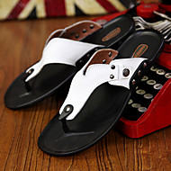 Men's Spring Summer Leather Outdoor Casual Flat Heel Rivet Black Yellow White Orange